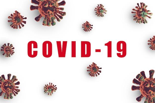 Mutação do vírus corona em fundo branco, pandemia de covid 19 da china em 2019 para todos os países. a mutação forte do vírus para expandir a epidemia e difícil de tratar, técnica de renderização em 3d