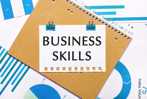 Na área de trabalho, há gráficos e diagramas em azul e azul claro, um caderno marrom e uma folha de papel com clipes azuis e texto de habilidades de negócio