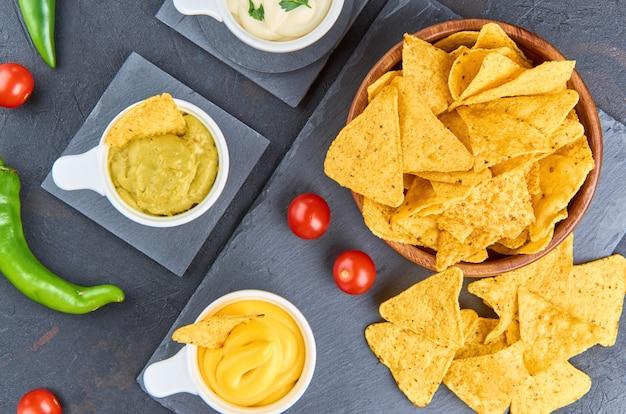 Nachos. conceito de comida mexicana.