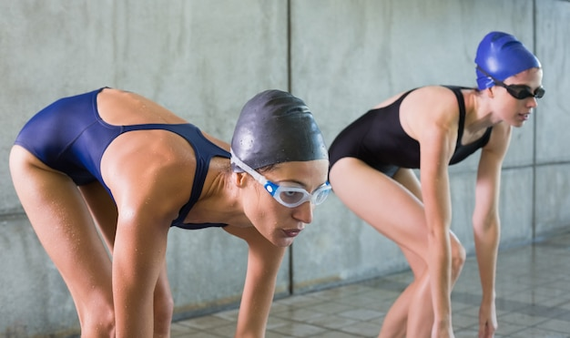 Nadadores femininos prestes a mergulhar na piscina