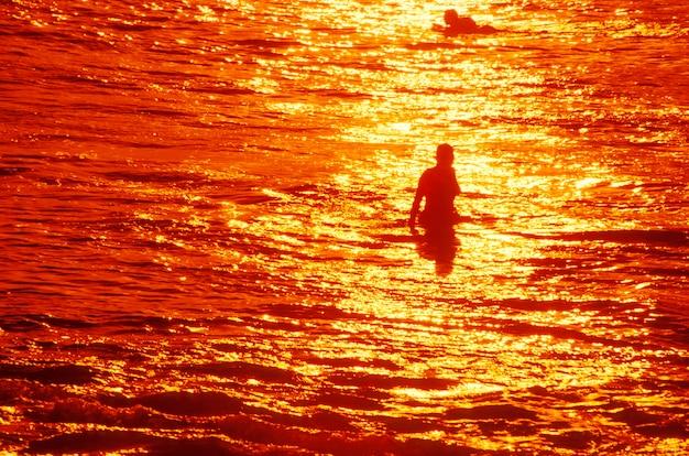 Nadadores no oceano, havaí