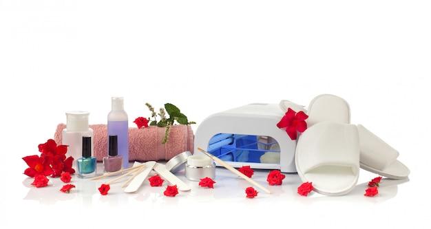 Nail spa manicure e pedicure com equipamentos