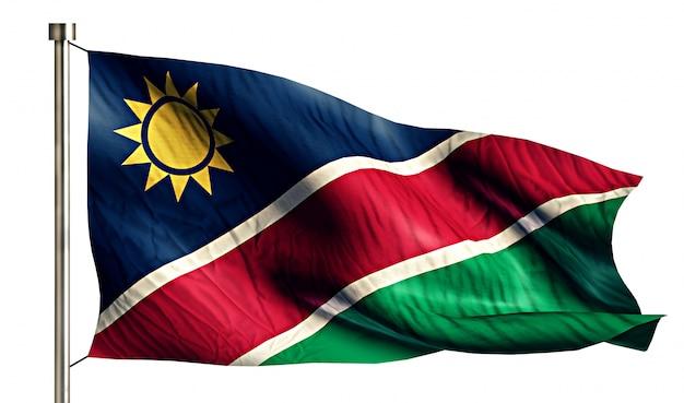 Namíbia bandeira nacional isolada 3d fundo branco