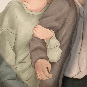 Namorada abraçando o braço do namorado ilustração do tema dos namorados postagem na mídia social