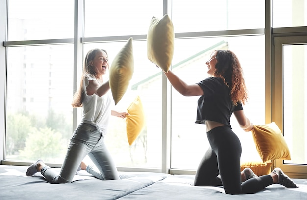 Namoradas engraçadas jogam travesseiros, perto de grandes janelas.