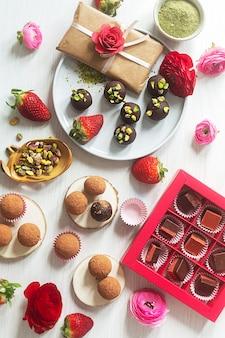 Não cozinhe doces orgânicos sustentáveis preparados com ingredientes naturais, vista de cima