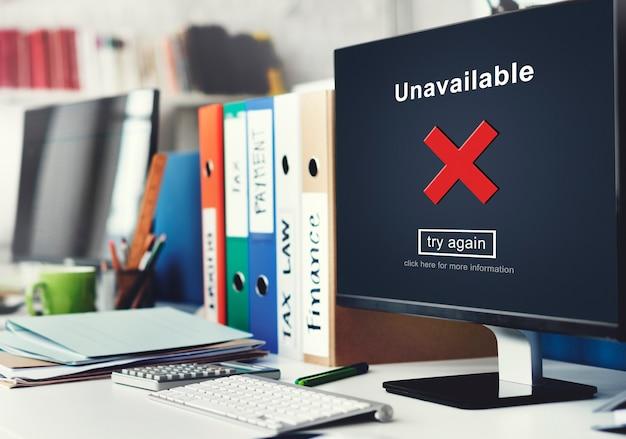Não disponível, desconectado, inacessível, impossível conectar, conceito