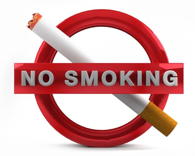Não é permitido fumar sinal isolado na renderização 3d de fundo branco.