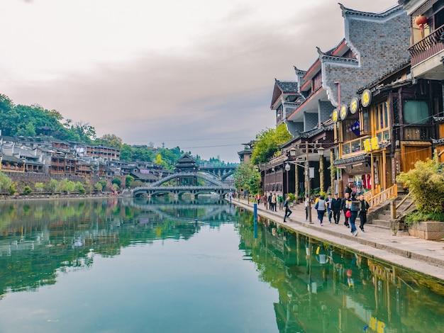 Não familiarizado com a vista panorâmica da cidade velha de fenghuang