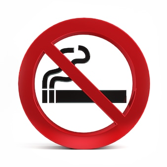Não fumar sinal isolado na renderização 3d do fundo branco.