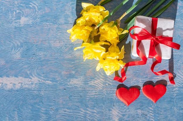 Narcisos amarelos brilhantes, uma caixa de presente branca com uma fita vermelha e dois corações vermelhos em um fundo azul de madeira. cartão de felicitações para o dia das mães, dia dos namorados