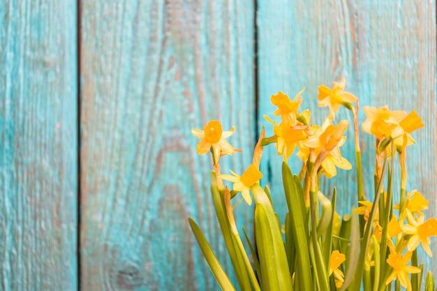 Narcisos amarelos na madeira