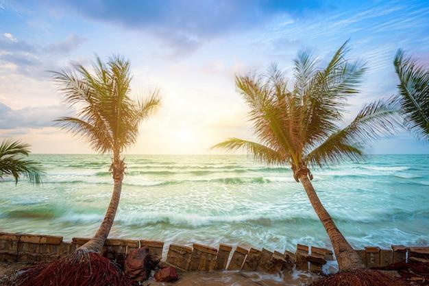 Nascer do sol bonito do amanhecer sobre a árvore de coco com o mar o horizonte na praia do lao do chao do chapéu em chanthaburi tailândia.