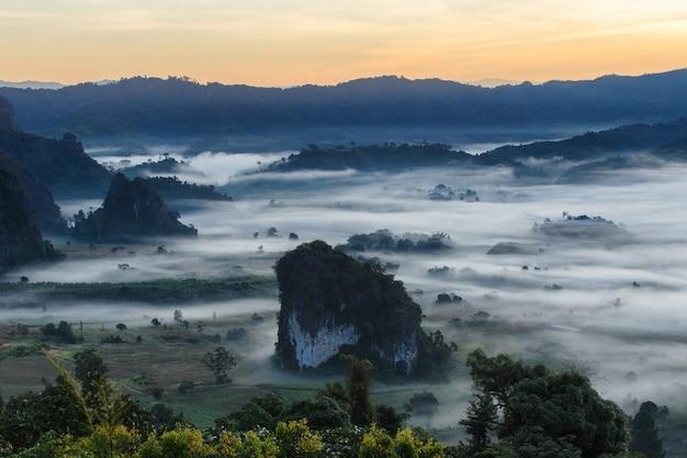 Nascer do sol bonito do lugar do curso com névoa da manhã no parque nacional de phu langka na província de phayao, tailândia
