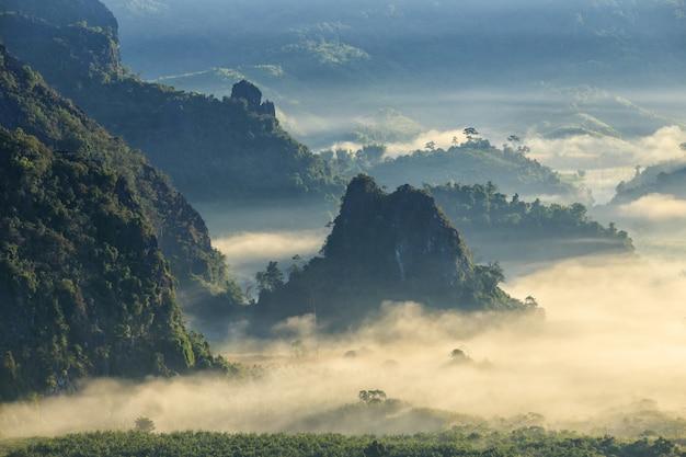 Nascer do sol bonito do lugar do curso com névoa da manhã no parque nacional de phu langka na província de phayao