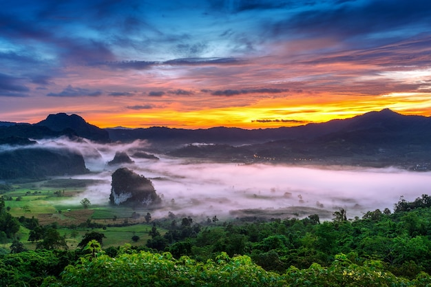 Nascer do sol na névoa da manhã em phu lang ka, phayao, na tailândia.