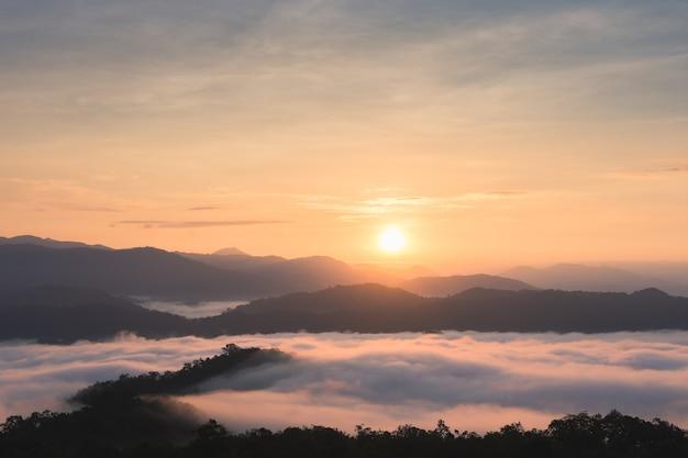 Nascer do sol sobre grandes montanhas e névoa na floresta no inverno.