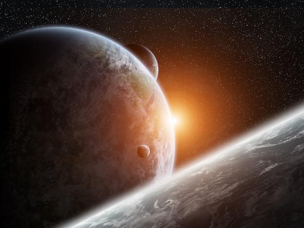 Nascer do sol sobre o planeta terra no espaço
