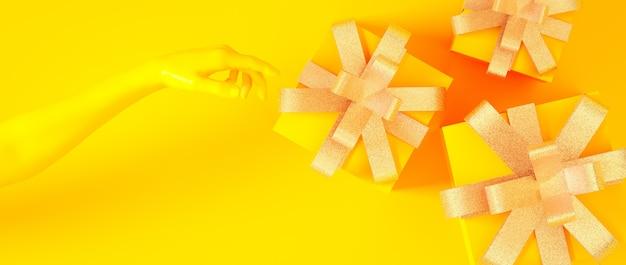 Natal, ano novo, caixas de presentes douradas amarelas de aniversário com ilustração de renderização 3d de mão