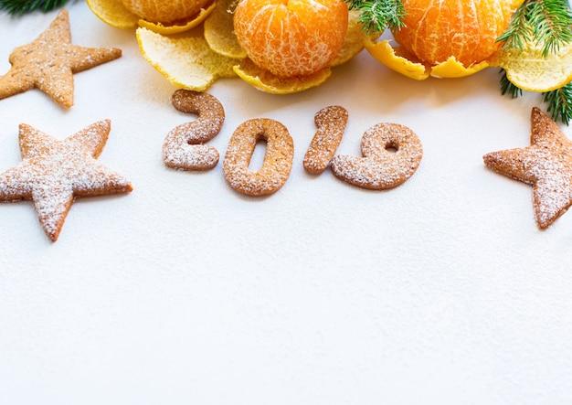 Natal ano novo composição tangerinas abeto
