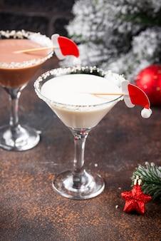 Natal chocolate floco de neve martini cocktail