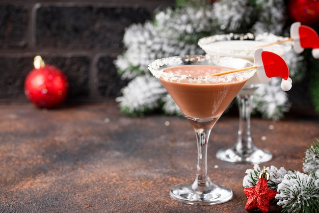 Natal chocolate floco de neve martini cocktail