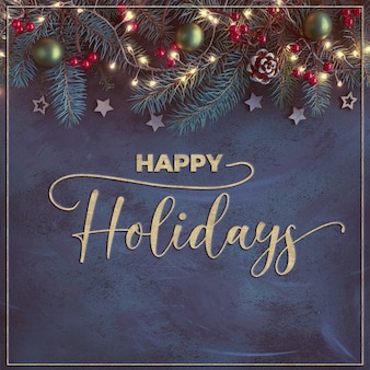 Natal com galhos de pinheiro, bagas vermelhas, cones e luzes de natal no fundo abstrato escuro com moldura dourada e texto dourado texturizado