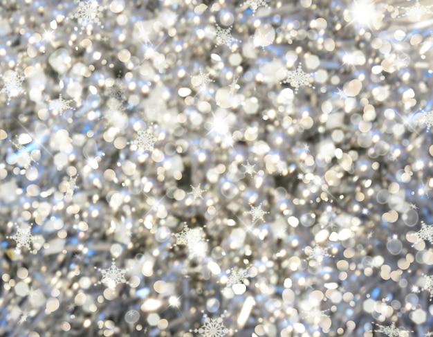 Natal com luzes bokeh e flocos de neve