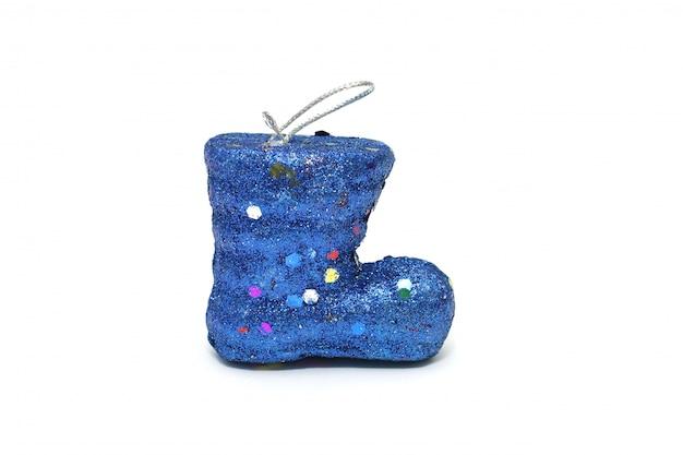 Natal de bota do papai noel azul isolado no branco
