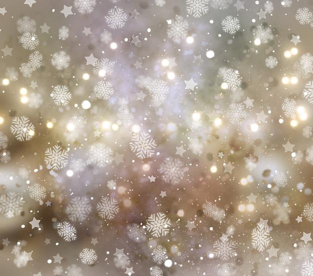 Natal de flocos de neve e estrelas