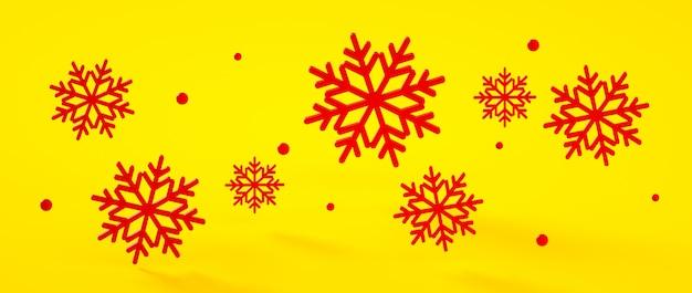Natal, ilustração da rendição dos flocos de neve 3d do ano novo. cor em negrito na moda.