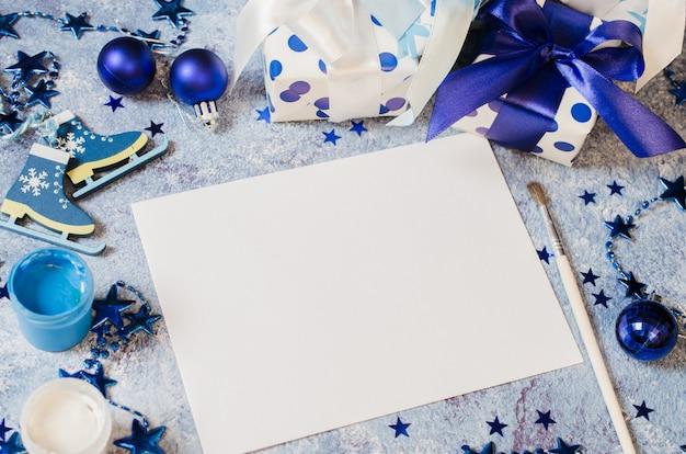 Natal para cartão ou carta para o papai noel na cor azul.