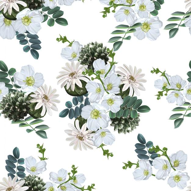 Natural tópica com padrão sem emenda de flor branca e cacto