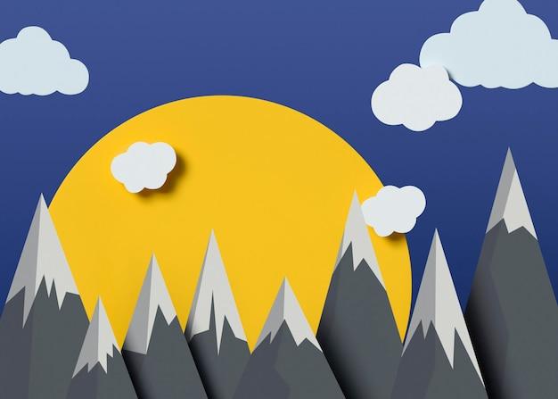Natureza 3d com nuvens e montanhas