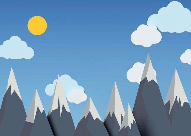 Natureza 3d com sol e montanhas