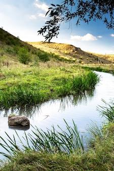 Natureza da moldávia, vale com rio que flui