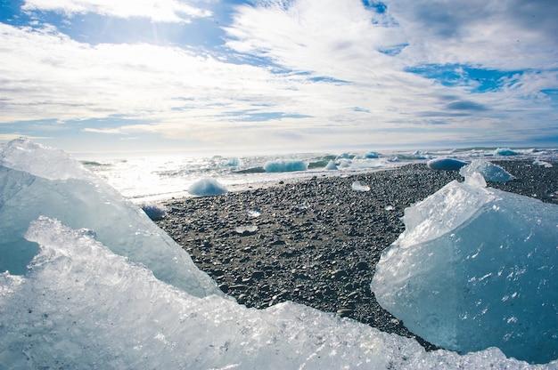 Natureza de fundo de gelo glaciar lagoa na islândia