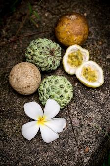 Natureza morta com frutas exóticas úteis
