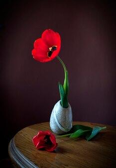 Natureza morta com tulipa em peso e em uma mesa de madeira dia da mulher