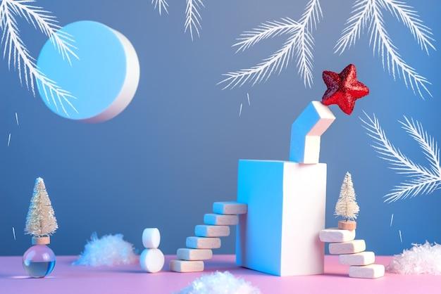 Natureza morta de inverno de ano novo com escadas, árvore de natal, estrela, sol, neve