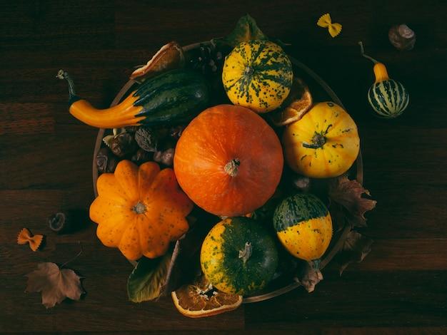 Natureza morta de outono com abóboras, abóboras, folhas e castanhas em mesa rústica, vista de cima, em tons de verde retrô em tom discreto