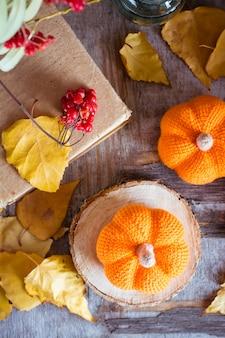 Natureza morta de outono com uma abóbora e folhas caídas vista superior