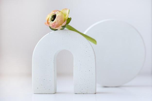 Natureza morta de primavera moderna com formas geométricas e flor de ranúnculo em um branco neutro Foto Premium