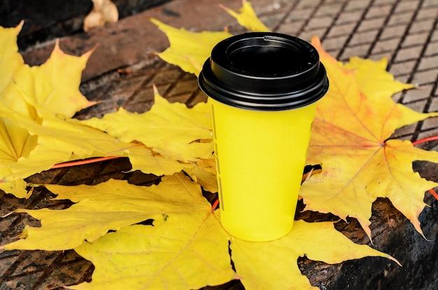 Natureza morta de rua de outono: xícara de café de papelão amarelo com tampa de plástico preto em grandes folhas de bordo amarelas.