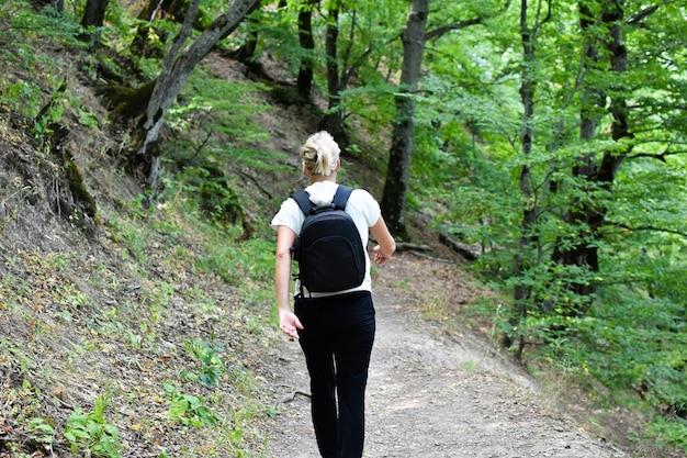 Natureza pitoresca para caminhadas e relaxamento. turista de mulher viaja sozinha.