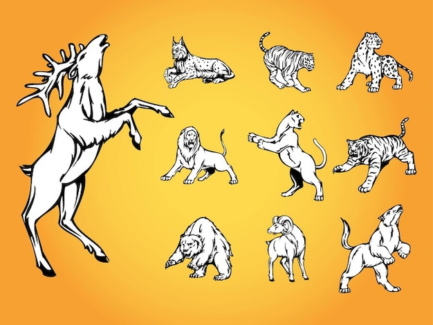 Natureza selvagem animais logotipo vector