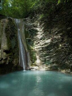 Natureza selvagem com árvores, plantas, riachos, cachoeiras e pedras. um pequeno riacho no desfiladeiro do cânion da montanha no verão.