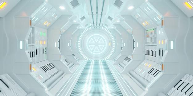 Nave espacial corredor interior scifi fiction conceito renderização em 3d