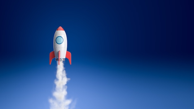 Nave espacial dos desenhos animados voando no azul