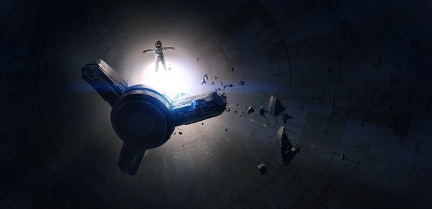 Nave espacial perdida danificada no espaço